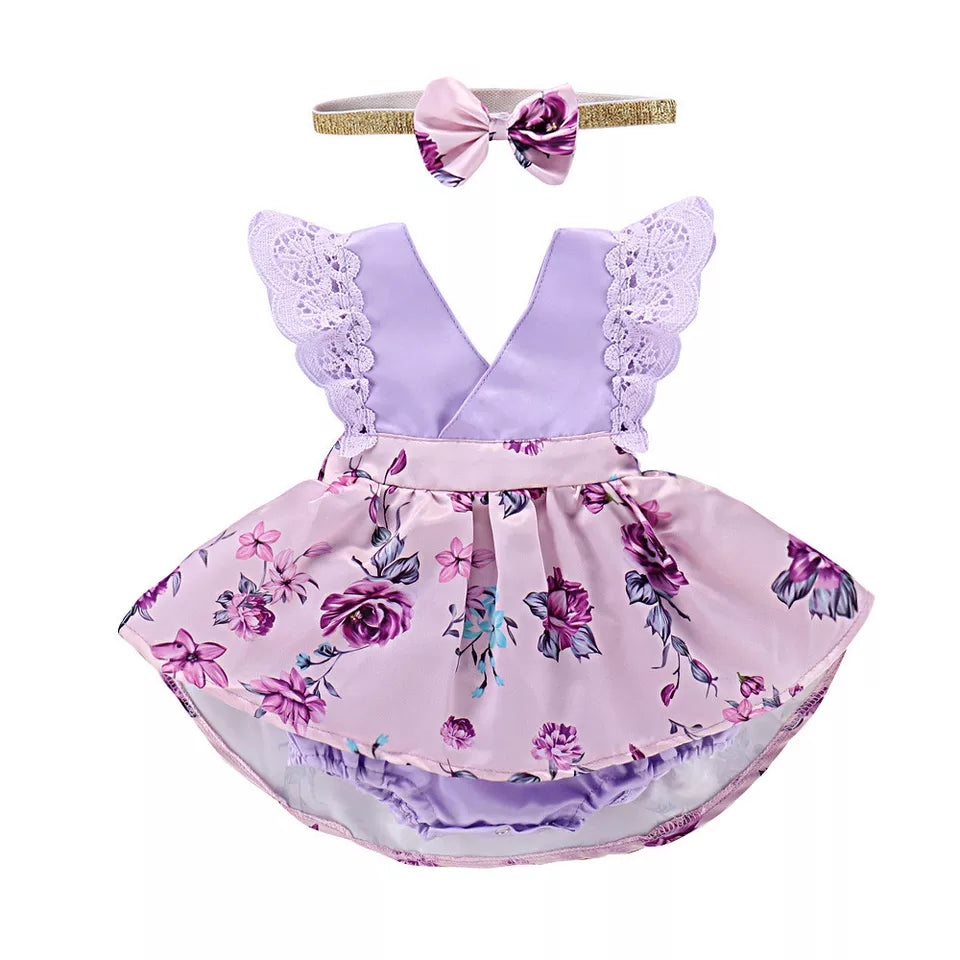 Lavender Floral Little Dress - Mom and Bebe Ph