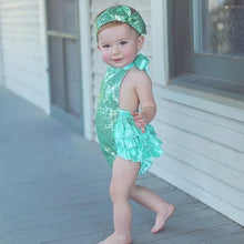 Load image into Gallery viewer, Teal Sequin Romper & Headband - Mom and Bebe Ph
