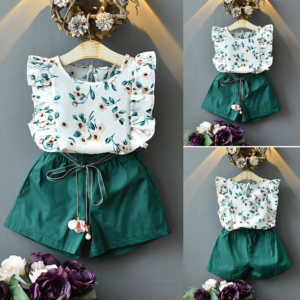 Chiffon Top & Green Shorts - Mom and Bebe Ph