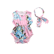 Load image into Gallery viewer, Floral Romper w/ Headband (pink) - Mom and Bebe Ph