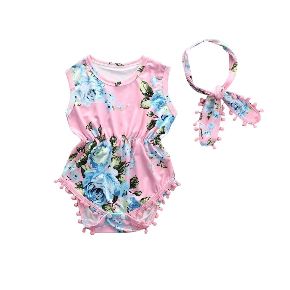 Floral Romper w/ Headband (pink) - Mom and Bebe Ph