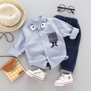 Stripes Polo & Denim Pants - Mom and Bebe Ph
