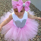 3pc set Pink Tutu Onesie Headband