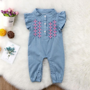 Denim Romper w/Embroidery - Mom and Bebe Ph