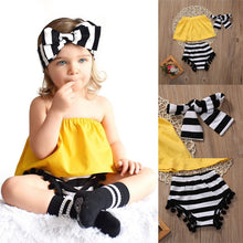 Load image into Gallery viewer, Yellow Top Stripe Pants Headband - Mom and Bebe Ph