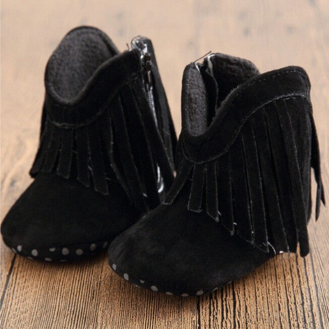 Moccasin Boots (Black) - Mom and Bebe Ph