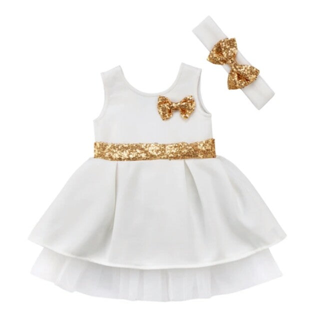 Solid Ball Gown (white/gold) | Mom and Bebe Ph
