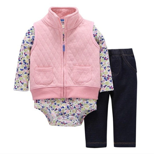 Cotton Set 3pc Vest Bodysuit Trouser
