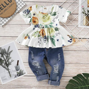 White Floral Top Denim Pants - Mom and Bebe Ph
