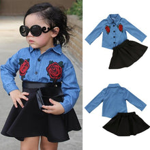 Load image into Gallery viewer, Denim Flower Patched Top + Skirt - Mom and Bebe Ph