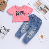 Birds Crop Top & Jeans - Mom and Bebe Ph
