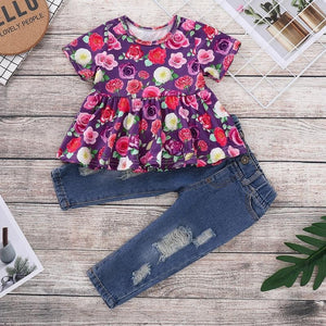Floral Top & Tattered Jeans - Mom and Bebe Ph