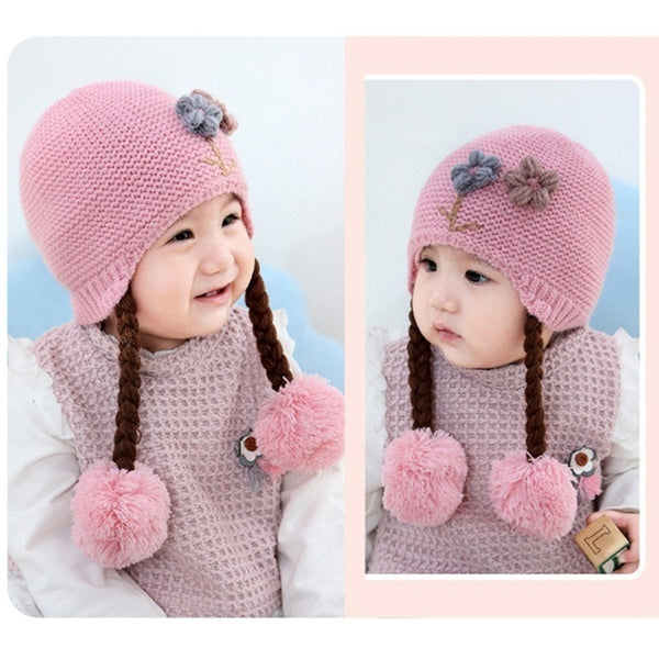 Knitted Hat with Braids - Mom and Bebe Ph