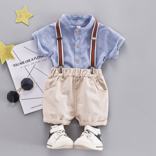 Blue Polo Suspender Pants - Mom and Bebe Ph