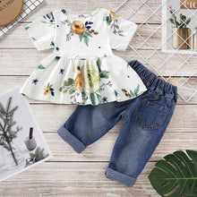 Load image into Gallery viewer, White Floral Top Denim Pants - Mom and Bebe Ph