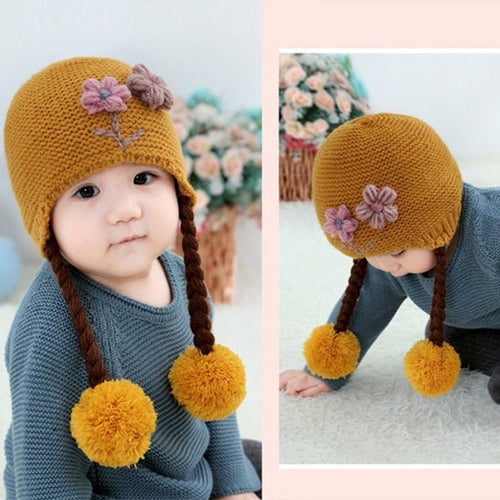 Knitted Hat with Braids