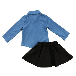 Denim Flower Patched Top + Skirt - Mom and Bebe Ph