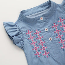 Load image into Gallery viewer, Denim Romper w/Embroidery - Mom and Bebe Ph