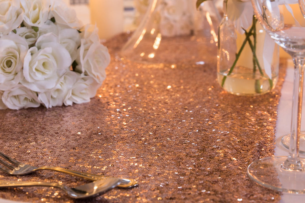 Rose Gold Sequin Table Runners, Table Runners, Scene My Event, Scene My Event - Scene My Event