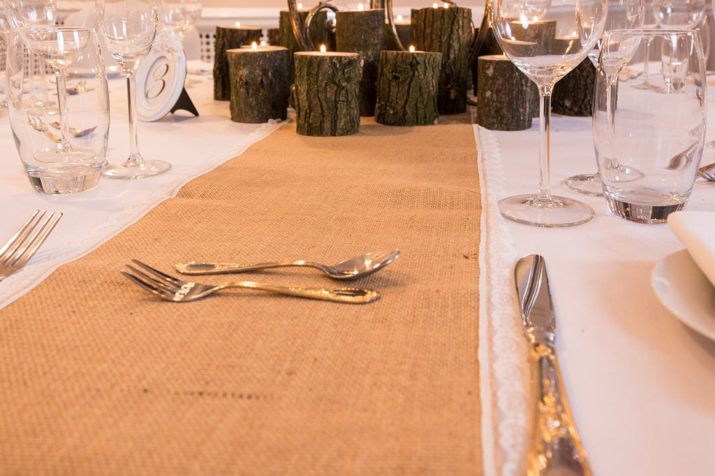 Rustic Hessian Burlap Lace Table Runners, Table Runners, Scene My Event, Scene My Event - Scene My Event