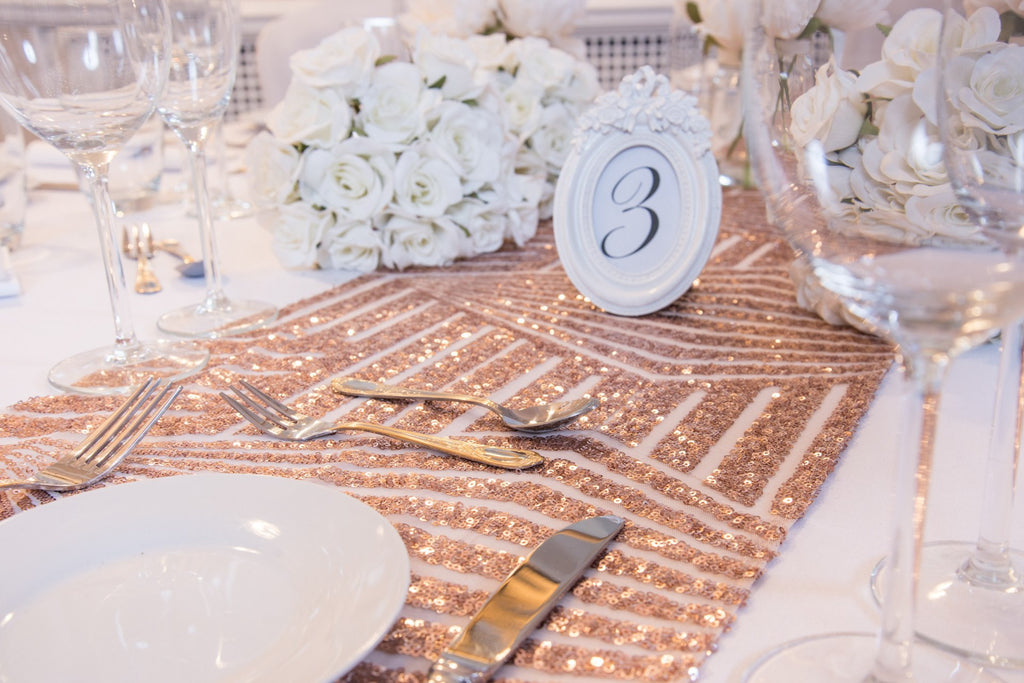 Rose Gold Geometric Sequin Table Runners, Table Runners, Scene My Event, Scene My Event - Scene My Event