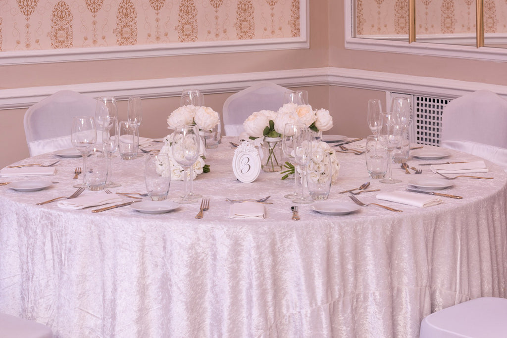 Crushed Velvet Ivory Table Cloths, Table Cloths, Scene My Event, Scene My Event - Scene My Event