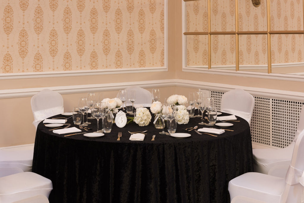Crushed Velvet Black Table Cloths, Table Cloths, Scene My Event, Scene My Event - Scene My Event