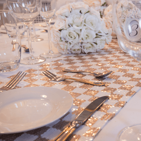 Champagne Blush Checked Sequin Table Runners, Table Runners, Scene My Event, Scene My Event - Scene My Event