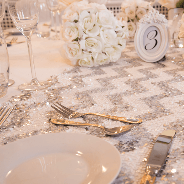 Shining Silver Chevron Sequin Table Runners, Table Runners, Scene My Event, Scene My Event - Scene My Event