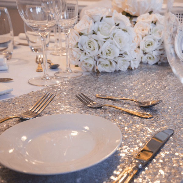 Shining Silver Sequin Table Runners, Table Runners, Scene My Event, Scene My Event - Scene My Event