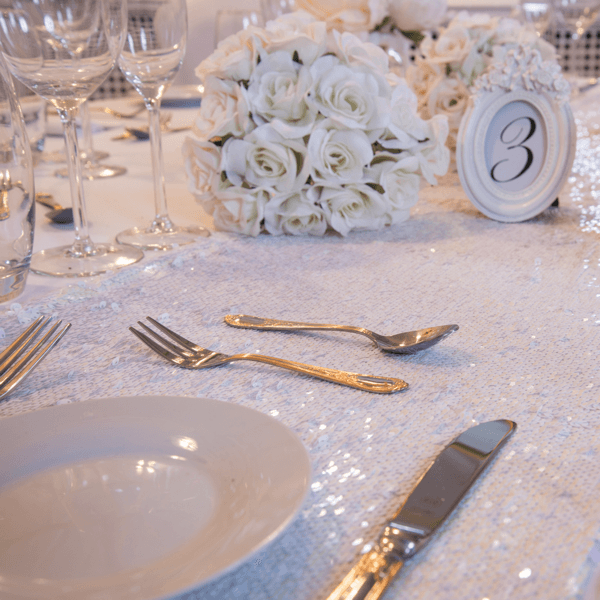 White Iridescent Sequin Table Runners, Table Runners, Scene My Event, Scene My Event - Scene My Event