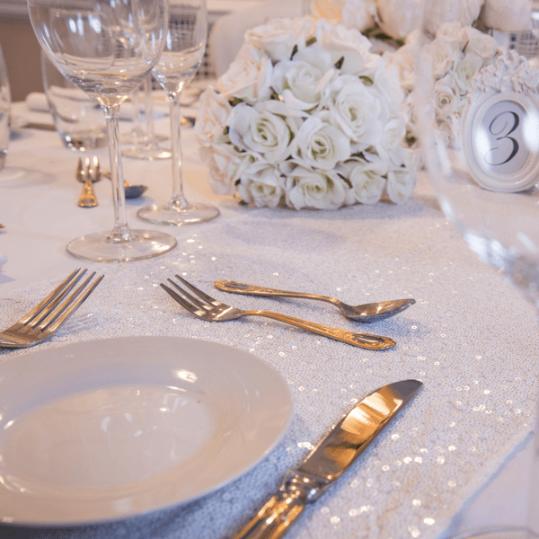 Pure White Sequin Table Runners, Table Runners, Scene My Event, Scene My Event - Scene My Event