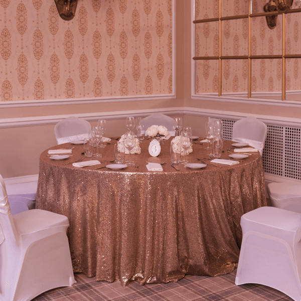 Round Rose Gold Sequin Table Cloths, Table Cloths, Scene My Event, Scene My Event - Scene My Event