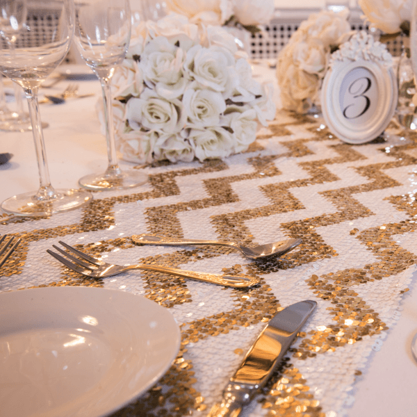 Celestial Gold Chevron Sequin Table Runners, Table Runners, Scene My Event, Scene My Event - Scene My Event