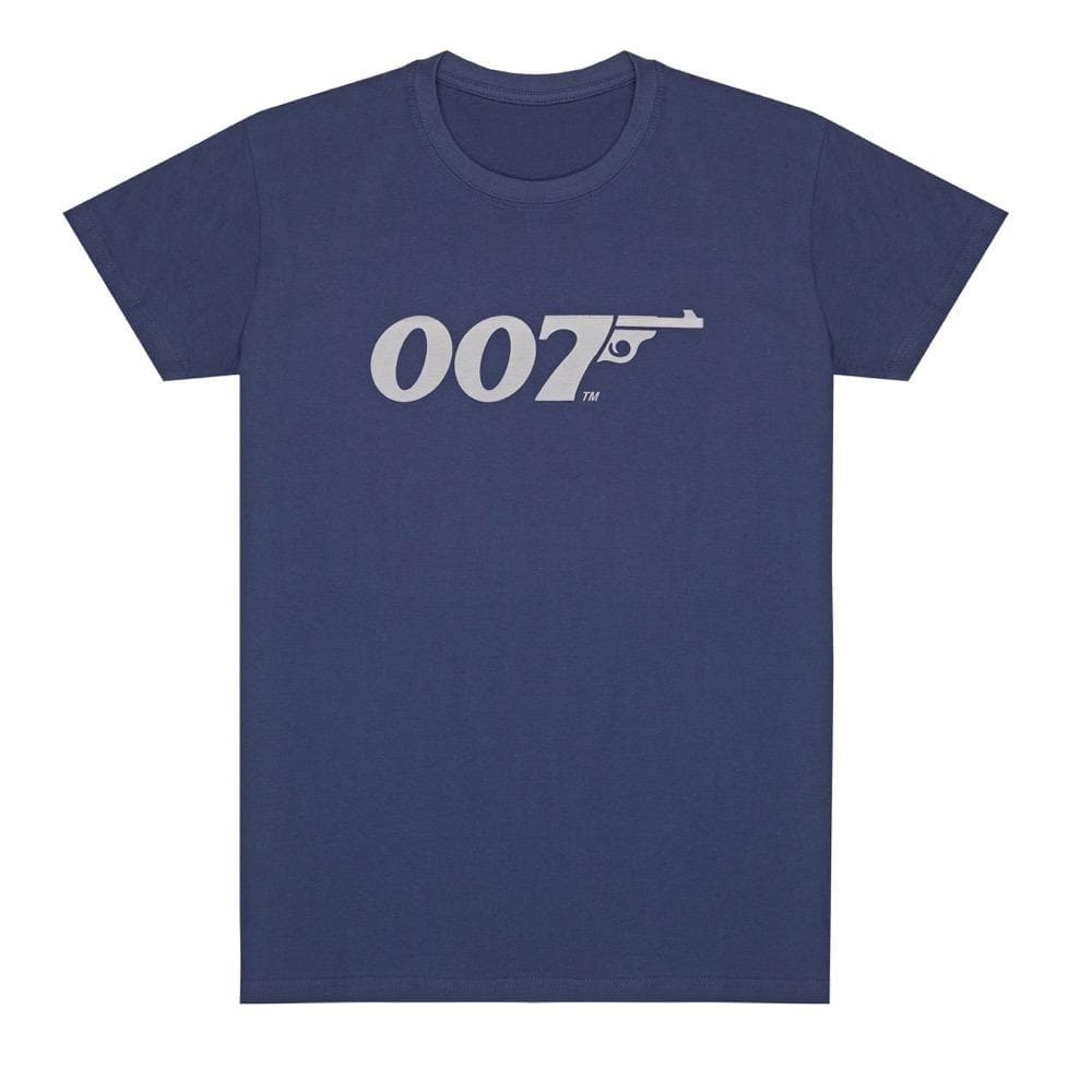 Denim Blue 007 Retro Logo Cotton T-Shirt - 007STORE