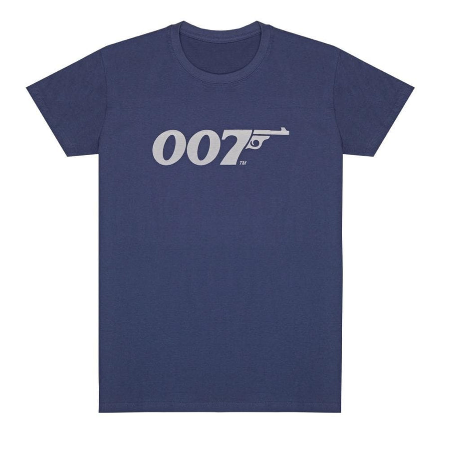 Denim Blue 007 Retro Logo Cotton T-Shirt