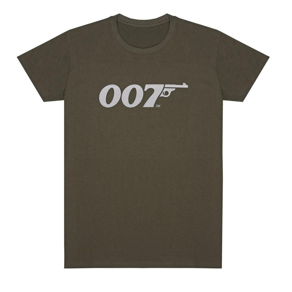 Khaki Green 007 Retro Logo Cotton T-Shirt - 007Store