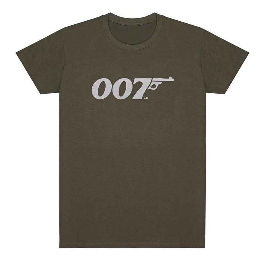 Khaki Green 007 Retro Logo Cotton T-Shirt