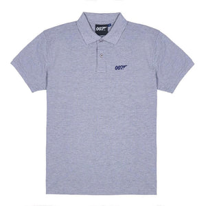 Grey Marl 007 Embroidered Polo Shirt - 007STORE