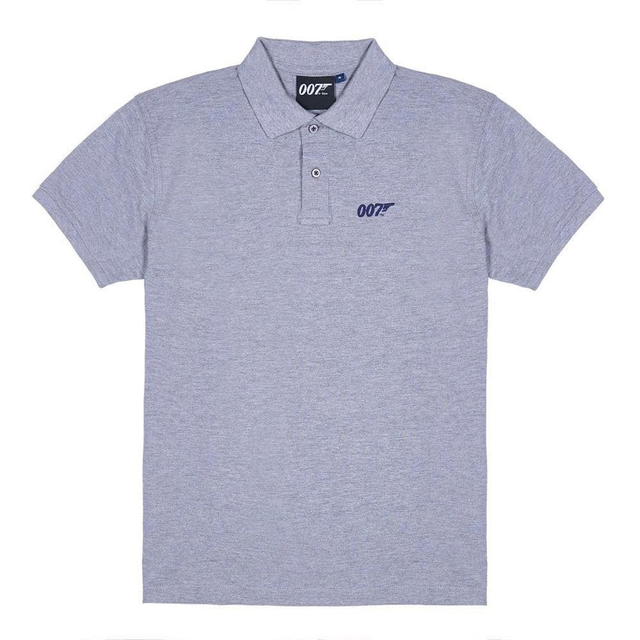 Grey Marl 007 Embroidered Polo Shirt
