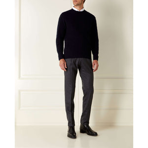 Navy Blue Cable Knit Cashmere Sweater - GoldenEye Limited Edition By N.Peal - 007STORE