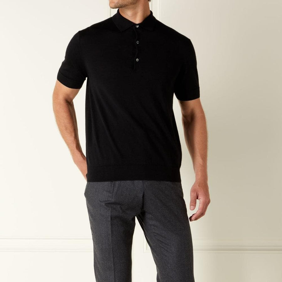 Black Cashmere/Silk Polo Shirt-  Goldfinger Limited Edition By N.Peal - 007STORE