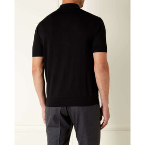 Black Cashmere/Silk Polo Shirt l Official James Bond 007 Store