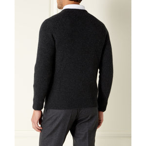 Charcoal Cashmere/Merino Fisherman's Rib Sweater l Official James Bond 007 Store