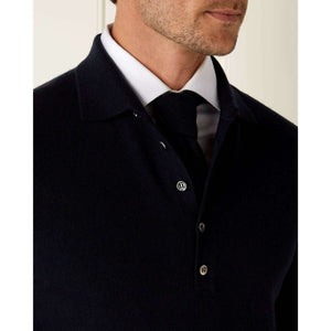 Navy Blue Long Sleeve Cashmere Polo Shirt - The Living Daylights Limited Edition By N.Peal - 007STORE