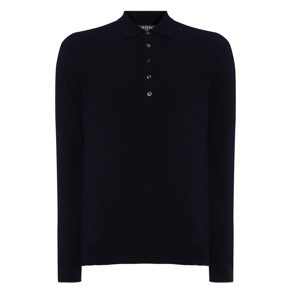 Navy Blue Long Sleeve Cashmere Polo Shirt - The Living Daylights Limited Edition By N.Peal