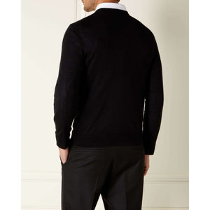 Black Cashmere/Silk V Neck Sweater l Official James Bond 007 Store