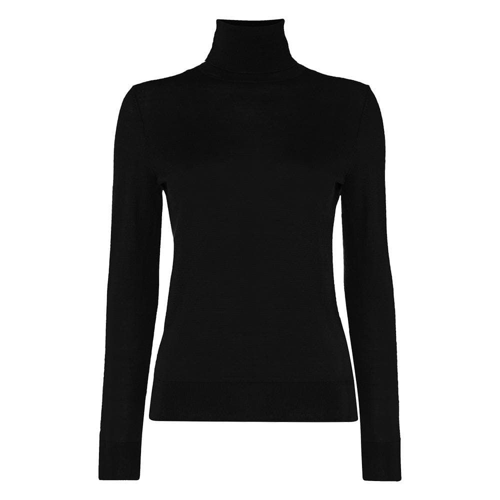 Women's Black Cashmere Roll Neck Sweater - Goldfinger Limited Edition By N.Peal