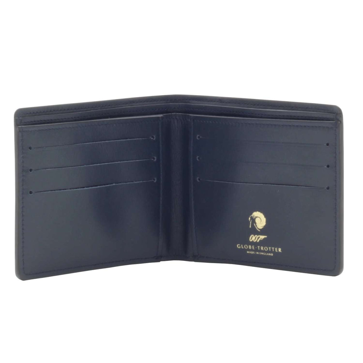 007 Navy Leather Billfold Wallet By Globetrotter l Official James Bond Store