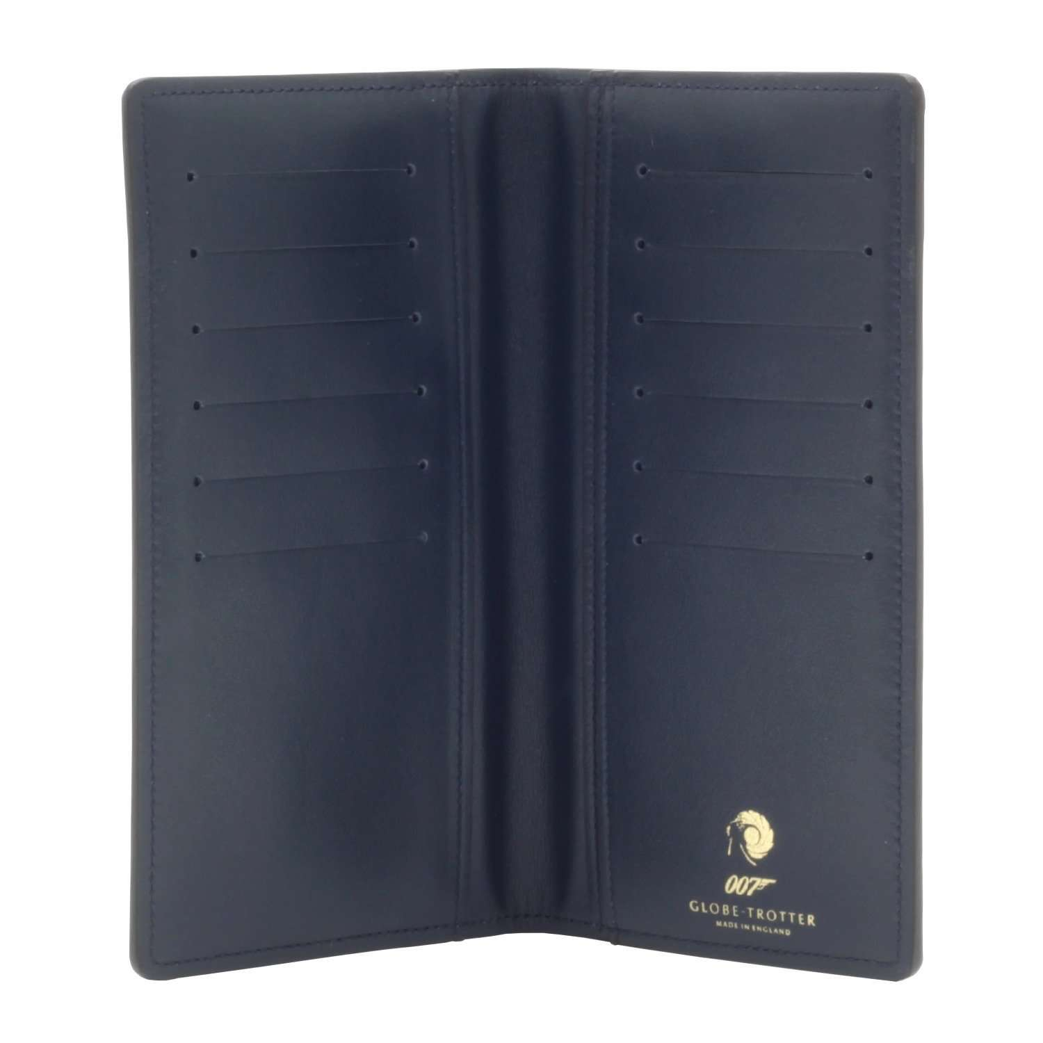 007 Navy Leather Coat Wallet By Globe-Trotter - 007STORE